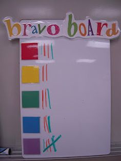 "classroom management: Bravo Board- week winner is the ""Bravo Table"" that gets a small trophy on their desk for the whole next week. I like the emphasis on group cooperation/teamwork. Kindergarten Classroom, School Classroom, Classroom Decor, Future Classroom, Classroom Hacks, Organization And Management, Classroom Organization, Teacher Tools, Teacher Hacks"
