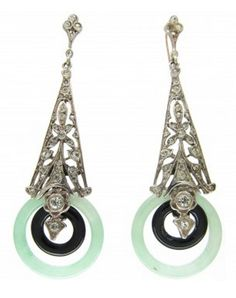 Art Deco Silver, Paste, Jade Onyx Drop Earrings Art Deco (1920-1935) A good pair of Art Deco earrings which look fabulous on the ear. They are silver and set with paste with two hoops of onyx and jade. They were made circa 1925.