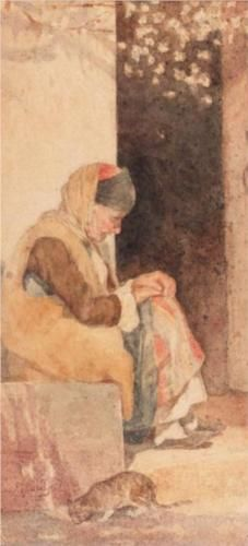 GRANDMOTHER by Polychronis Lembesis. The Embrace, Painter Artist, Greek Art, Artist Signatures, Art Database, Oil Painting Reproductions, Chiaroscuro, Romanticism, Famous Artists