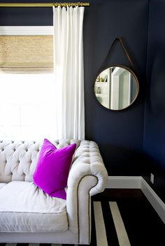 The Simple Way to Make Any Room More Polished via @domainehome.  Love the pop of color and mirror.