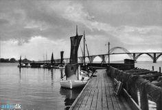 arkiv.dk | Drivkvaser i havnen i Kalvehave, ca. 1955. Langebæk Lokalhistoriske Arkiv B1520