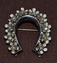 Vintage Silver Horseshoe Brooch Pin w/ Seed Pearls & Rhinestones