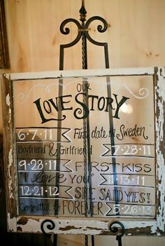 Rustic wedding idea: write the couple's love story timeline on a glass pane and framed with distressed wood.