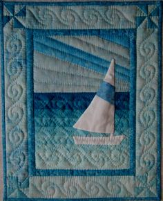 Sail Boat Wall Quilt Kit by donnaburkholder on Etsy Ocean Quilt, Beach Quilt, Small Quilts, Mini Quilts, Baby Quilts, Panel Quilts, Quilt Blocks, Quilting Projects, Quilting Designs