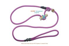 Slip Lead | MOXON Lead Dog Leash 'Sporty' Mauve, 180cm x 6mm without Pull Stop with Stop | of Woven Dog Leash With Integrated Collar | Stag | Retriever Agility Lead