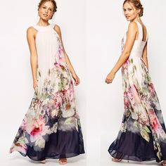 Floral Sleeveless Evening Party Long Maxi Dress