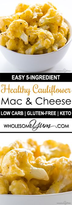 Cauliflower Mac and Cheese – 5 Ingredients (Low Carb, Keto, Gluten-free) - This healthy, low carb cauliflower mac and cheese recipe is made with just 5 common ingredients. Only 5 minutes prep time! (Vegan Gluten Free Mac And Cheese) Keto Cheese, Cheese Recipes, Paleo Recipes, Cooking Recipes, Mac Cheese, Gluten Free Mac And Cheese, Cooking Tips, Low Carb Cheese Sauce, Carb Free Recipes