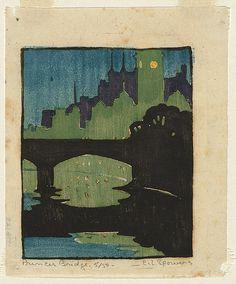 Ethel SPOWERS 1890 Melbourne, Victoria, Australia   – 1947   England, Europe 1921-23, 1928-29, 1931  Princes Bridge c.1927 relief li...