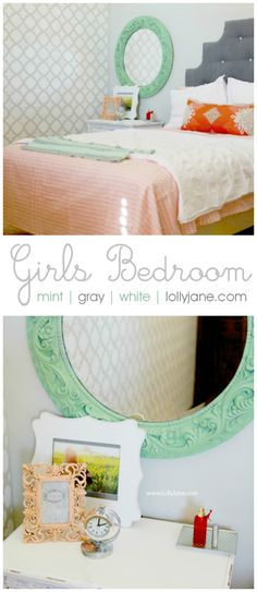 Pretty mint gray + white girls bedroom | lollyjane.com