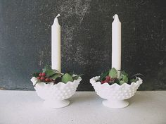 Vintage Hobnail Milk Glass Candle Holder Milk Glass by PassedBy, $25.00