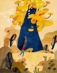63 Ideas tree illustration art fairytale for 2019 Art And Illustration, People Illustration, Illustrations And Posters, Character Illustration, Landscape Illustration, Guache, Mural Art, Form, Concept Art