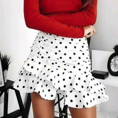 Foridol Polka Dot Ruched Mini Skirt Women White Ruffle Vintage Bodycon – cuteshoeswear tshirt and skirt outfit uniform skirt outfit cheap skirts skirt styles guide #dressoutfits #cuteoutfitsskirts #cuteskirtoutfits #skirtsanddresses Cute Skirt Outfits, Cute Skirts, Mini Skirts, Holiday Skirts, Cheap Skirts, Fashion Editor, Skirt Fashion, Style Guides, Autumn Winter Fashion