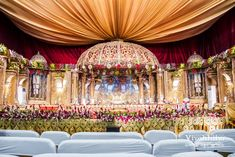 Shopzters is a South Indian wedding site Wedding Hall Decorations, Marriage Decoration, Flower Decorations, Backdrop Decorations, Wedding Stage Design, Wedding Details, Wedding Mandap, Wedding Backdrops, Fun Diy Crafts