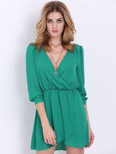 Green Long Sleeve V Neck Wrap Fornt Dress