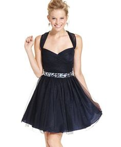 Macy's, Hailey Logan Juniors Dress, Sleeveless Rhinestone Sequin A-Line
