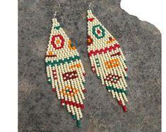 Beaded earrings & necklaces, Jewelry displays & stands by HandMadeBySnigurska Tribal Earrings, Red Earrings, Seed Bead Earrings, Fringe Earrings, Beaded Earrings, Indian Earrings, Statement Earrings, Feather Jewelry, Bead Jewellery