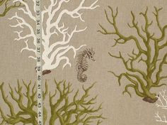 Green coral fabric seahorse from Brick House Fabric: Novelty Fabric