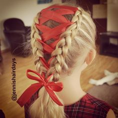 french braids with ribbon in between - Google Search