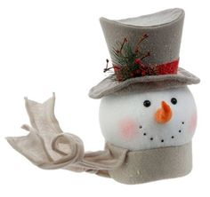 """AmazonSmile: RAZ Imports - Winterberry - Snowman Head Tree Topper (13.5"""" with Hat): Home & Kitchen"""