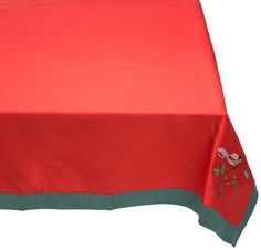 Lenox Winter Song Red Tablecloth 52 in x 70 in Rectangle Embroidery  #LENOX