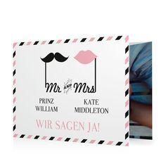 Hochzeitseinladung Mr & Mrs in Sorbet - Doppelklappkarte flach, gewickelt #Hochzeit #Hochzeitskarten #Einladung https://www.goldbek.de/hochzeit/hochzeitskarten/einladung/hochzeitseinladung-mr-und-mrs?color=sorbet&design=46903