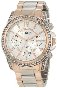 Geneva Moderate Women's Boyfriend Triple Rose Gold Faux Multi-Function Link Bracelet Watch