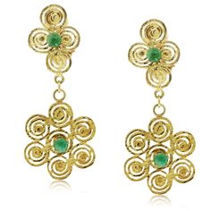 Another perfect St. Patrick's Day accessory, these Spiral Floral Cabochon Emerald Dangle Earrings!