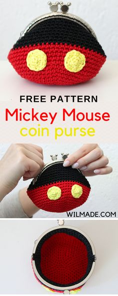 Free crochet pattern to make this Mickey Mouse coin purse / bag on wilmade.com