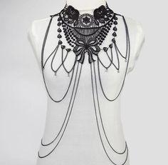 Black Lace Multi Layer Body Chain Size: S/M Bralette Chain, Black Lace Bralette, Necklace Types, Collar Necklace, Tassel Necklace, Men Necklace, Body Chain Jewelry, Fine Jewelry, Jewelry Model
