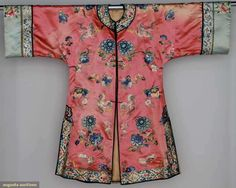 Embroidered Robe,Salmon satin w/ blue embroidery, China c. 1890-1920~Image © Augusta Auctions