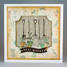 The Potting Shed collection, card designed by Neil Burley, using paper pad, toppers, sentiments. Gorgeous autumnal feel to collection featuring gardening tools, sheds, hedgehogs, flower pots, wellington boots and all things to do with gardening.