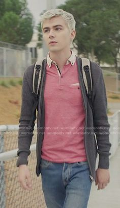 Alex's pink polo shirt on 13 Reasons Why.  Outfit Details: https://wornontv.net/70009/ #13ReasonsWhy
