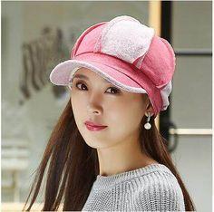 393a13a7fc0 Splice color block newsboy cap for women autumn wear. Newspaper Boy HatWarm  ...