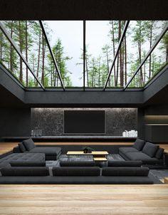 Black Villa Dream House Interior, Luxury Homes Dream Houses, Dream Home Design, Modern House Design, Home Interior Design, Mansion Interior, Loft Design, Design Case, House Rooms
