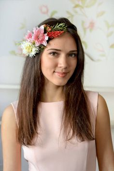Woodland headband flower head wreath wild flowers crown by Vualia