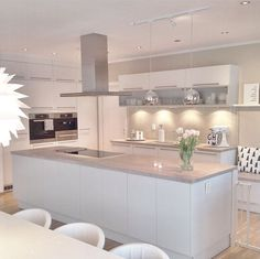 Love looking for great white kitchen decorating ideas? Check out these gallery of white kitchen ideas. Tag: White Kitchen Cabinets, Scandinavian, Small White Kitchen with Island, White Kitchen White Witchen Countertops