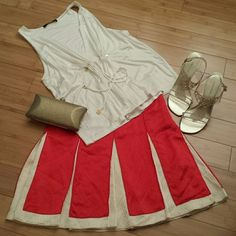 Tory Burch 100% Silk Skirt, Sz 0 Authentic! Excellent pre-owned condition! No snags or stains Pleated all around, harlequin style Red and vanilla cream silk Side zipper 3rd pic shows true colors  Absolutely gorgeous! Tory Burch Skirts A-Line or Full