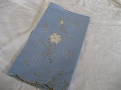 VINTAGE Blue Linen Applique and Embroidered Flower Hand by abandc