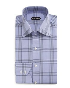 Tom Ford Prince of Wales Check Dress Shirt, Blue/White