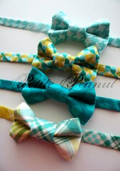 Little Guy Spring Easter Bow Tie - Teal Green Yellow Collection - (Newborn-10 years) - Baby Boy Toddler- Custom Order - Photo Prop. $16.50, via Etsy.