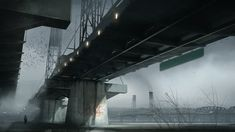 CYAN - The bridge, Sebastien Larroude on ArtStation at https://www.artstation.com/artwork/cyan-the-bridge