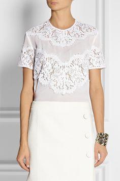 Lover Lace-trimmed silk top NET-A-PORTER.COM