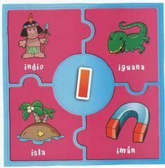 Rayito de Colores: Rompecabezas de las vocales Preschool Spanish, Spanish Activities, Alphabet Activities, Preschool Activities, Homeschool, Classroom, Kids Rugs, Education, Anime