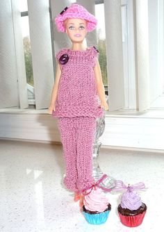 Barbie Clothes  Knit Pink and White 3  by SouthamptonCreations, $6.25