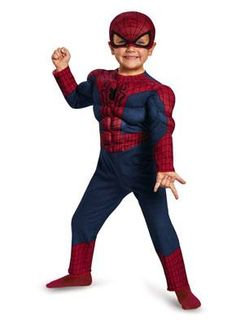 Disguise Marvel The Amazing Spider-Man 2 Movie Spider-Man Toddler Muscle Costume, Small/2T