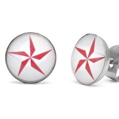 Ninja Star Studs Stainless Steel Stud Earrings for Men (Red White) - Free Shipping (Jewelry)