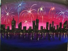 How To Paint A Cityscape with Fireworks Learn how to paint this Cityscape Fireworks painting!