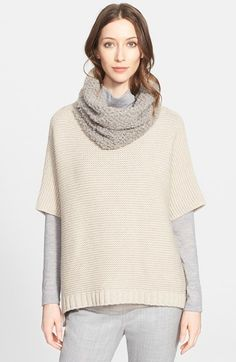 Women's Fabiana Filippi Short Sleeve Cape Sweater with Removable Genuine Shearling Collar
