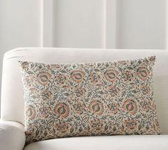 Selena Block Print Lumbar Pillow Cover | Pottery Barn