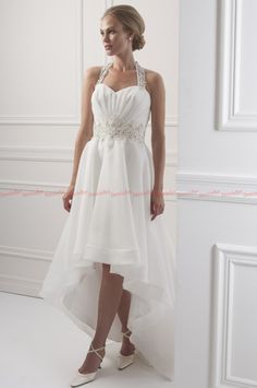Wholesale Elegant High Quality Halter Sweet-heart Low Back Short Front Long Back Hi-Lo Ruffle White Organza Beaded Wedding Dresses 2014, Free shipping, $99.52/Piece | DHgate Mobile